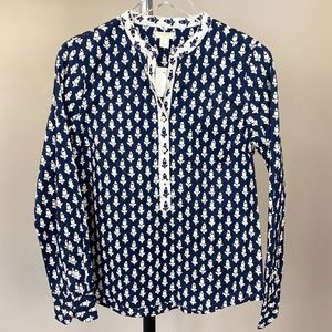 NWT J. Crew Popover Navy White Floral Tunic Top